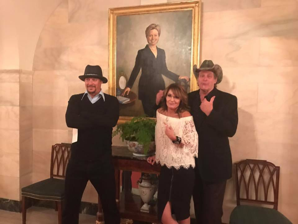 Kid Rock, Sarah Palin and Ted Nugent pose at the White House. Photo from Facebook.