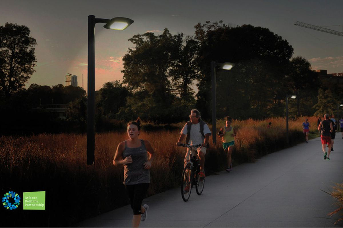 A rendering of lighting along the Atlanta Beltline's Eastside Trail at night.