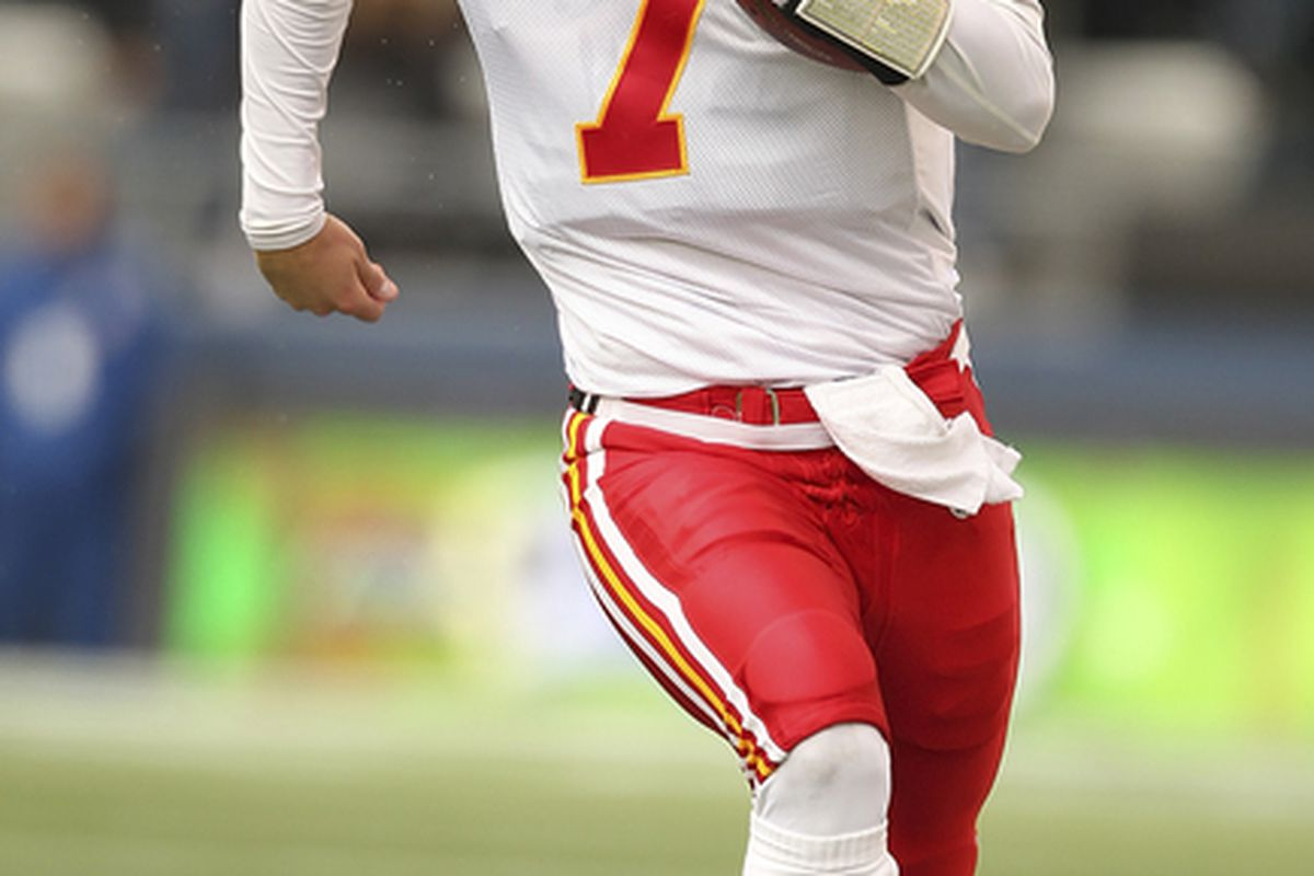 SEATTLE - NOVEMBER 28:  Quarterback Matt Cassel #7 of the Kansas City Chiefs rushes against the Seattle Seahawks at Qwest Field on November 28 2010 in Seattle Washington. The Chiefs defeated the Seahawks 42-24. (Photo by Otto Greule Jr/Getty Images)