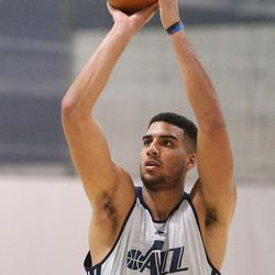 Former Kansas player Landen Lucas shoots cool-down shots after a workout with the Utah Jazz at their practice facility in Salt Lake City on Tuesday, May 23, 2017.