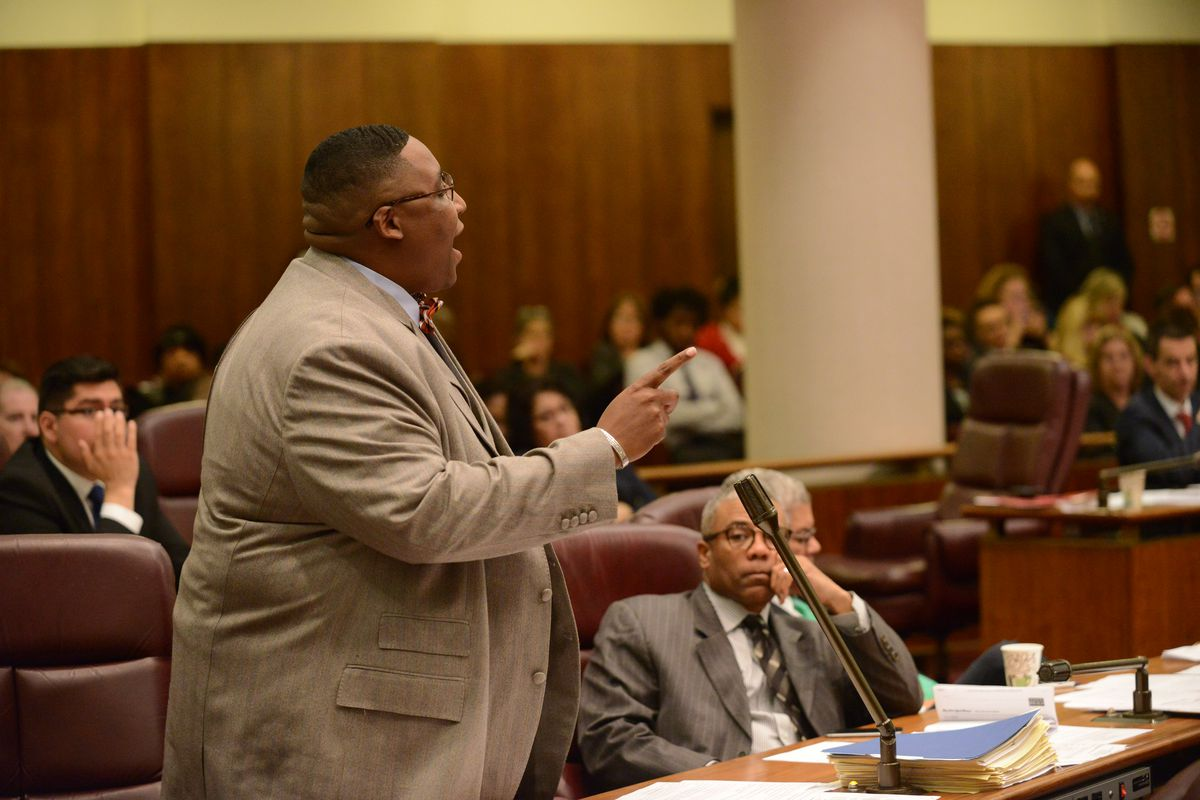 Alderman Jason Ervin speaking during the Chicago City Council meeting at City Hall. Wednesday, October 28, 2015. Brian Jackson/ For the Chicago Sun-Times