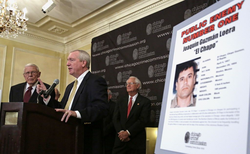 """On Feb. 14, 2013, Jack Riley (center), then special agent in charge of the DEA Chicago field office, arranged a news conference to declare that Joaquin """"El Chapo"""" was Chicago's """"Public Enemy Number One."""" 