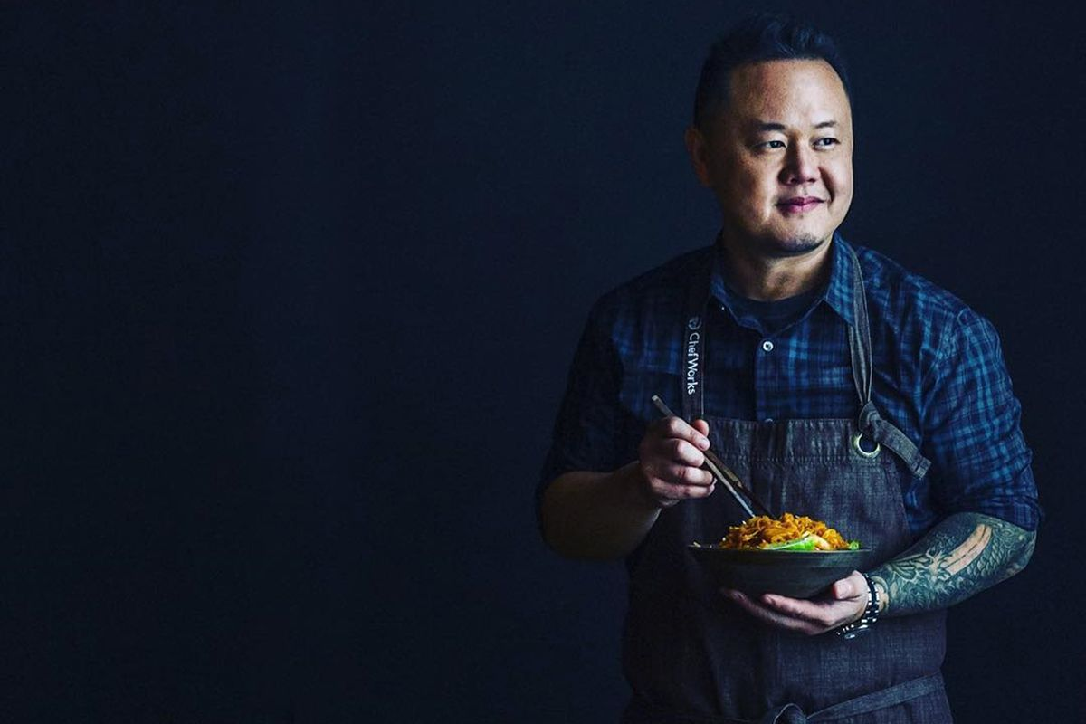 Chef Jet Tila holds a bowl of ramen from his new fast casual restaurant concept, the Dragon Tiger Noodle Company.