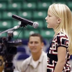 Eleisha Keen auditions Friday for a chance to sing the national anthem during Utah Jazz games this season at EnergySolutions Arena in Salt Lake City.