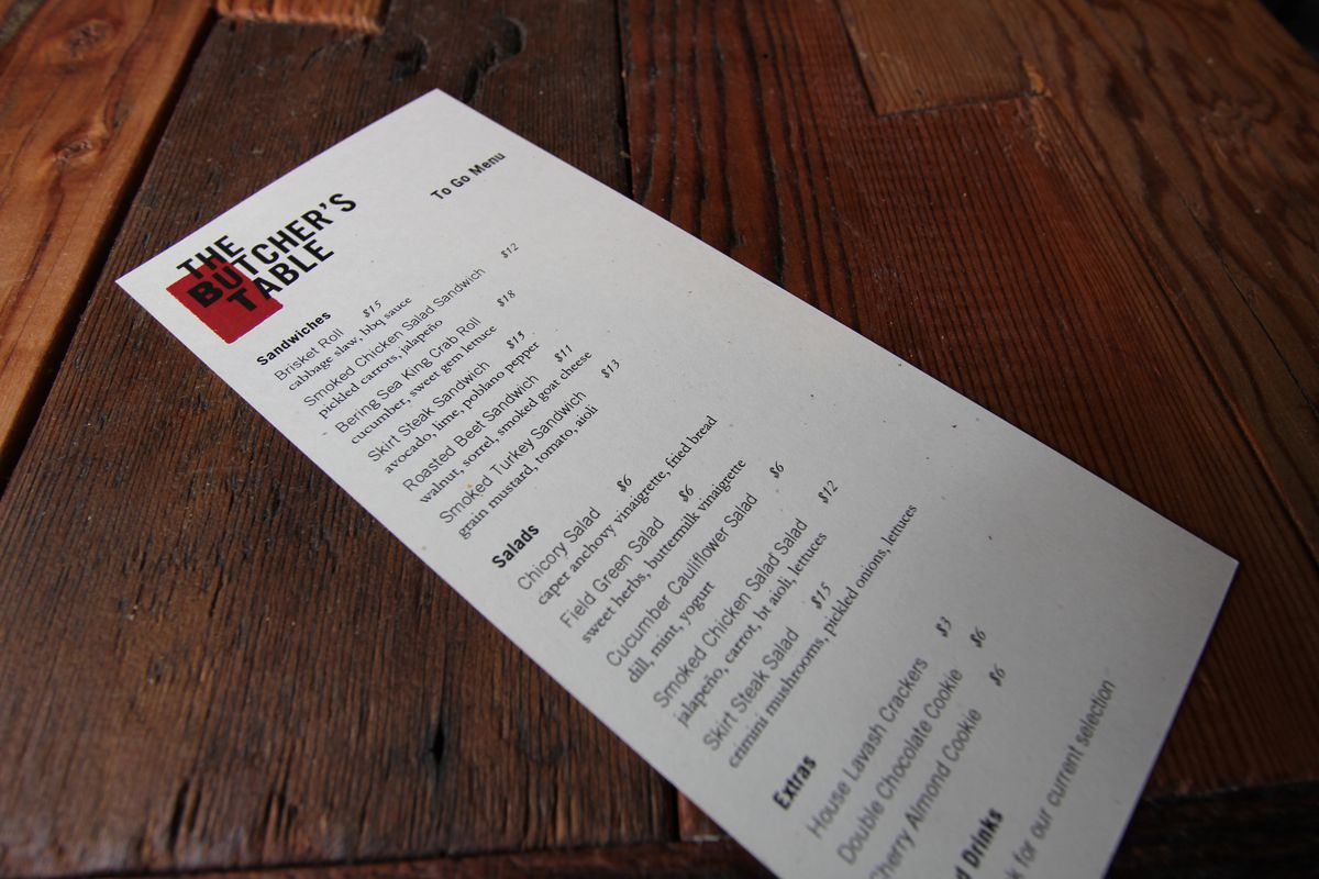 the butcher's table to go menu official