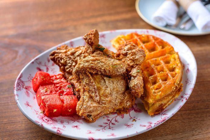 Chicken and waffles at Yardbird