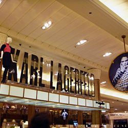 Coco also watches over the first floor, where Karl Lagerfeld mannequins are hanging out near the ceiling.