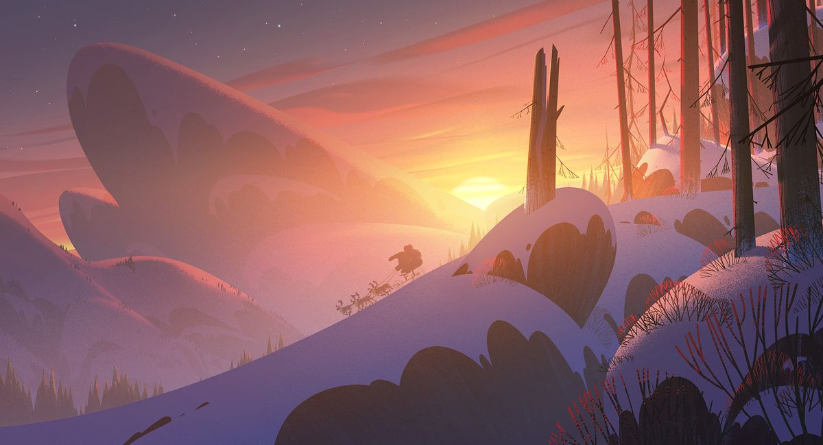 the sun sets over a rugger northern winter landscape