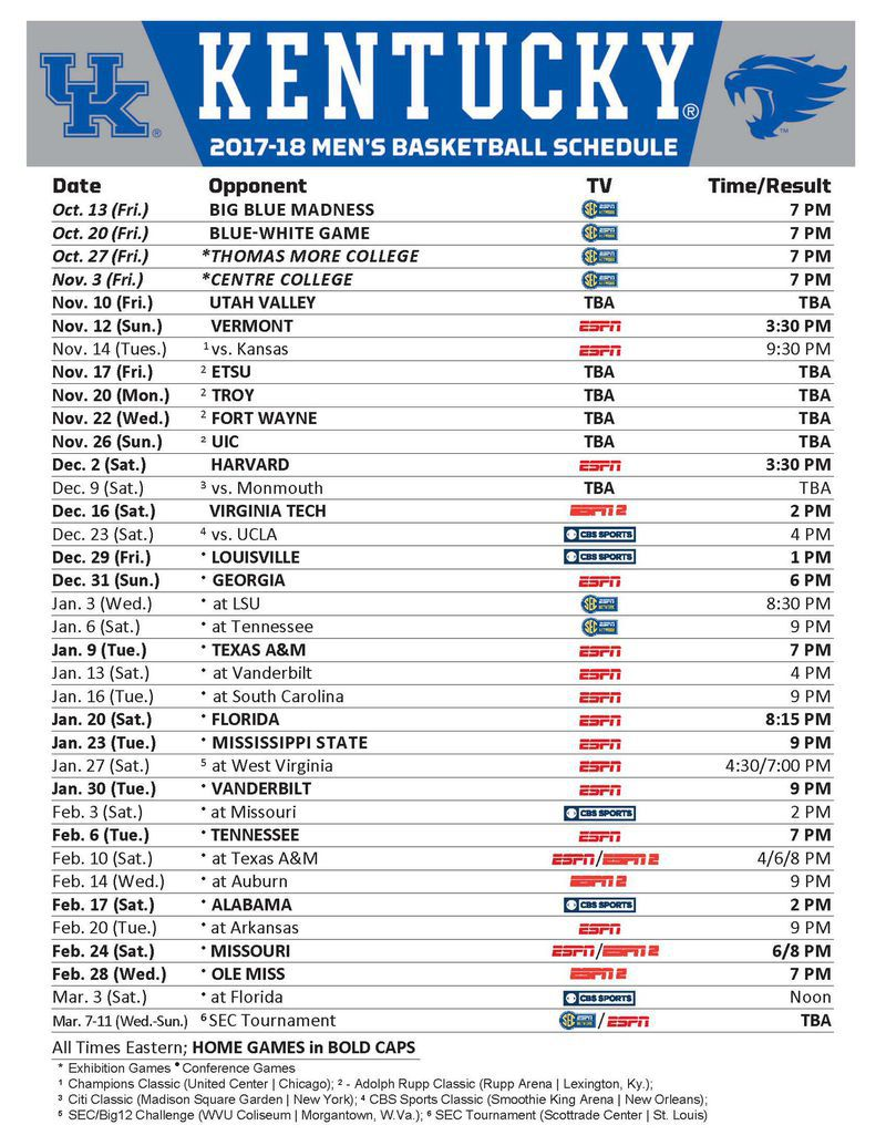 Uk Basketball Schedule 2020.Kentucky Basketball Schedule 2017 18 Tv Times And Locations