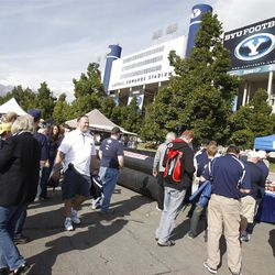 BYU fans tailgate prior to the game in the west parking lot of the stadium as BYU and Utah get set to play Saturday, Sept. 17, 2011 at Lavell Edwards Stadium.