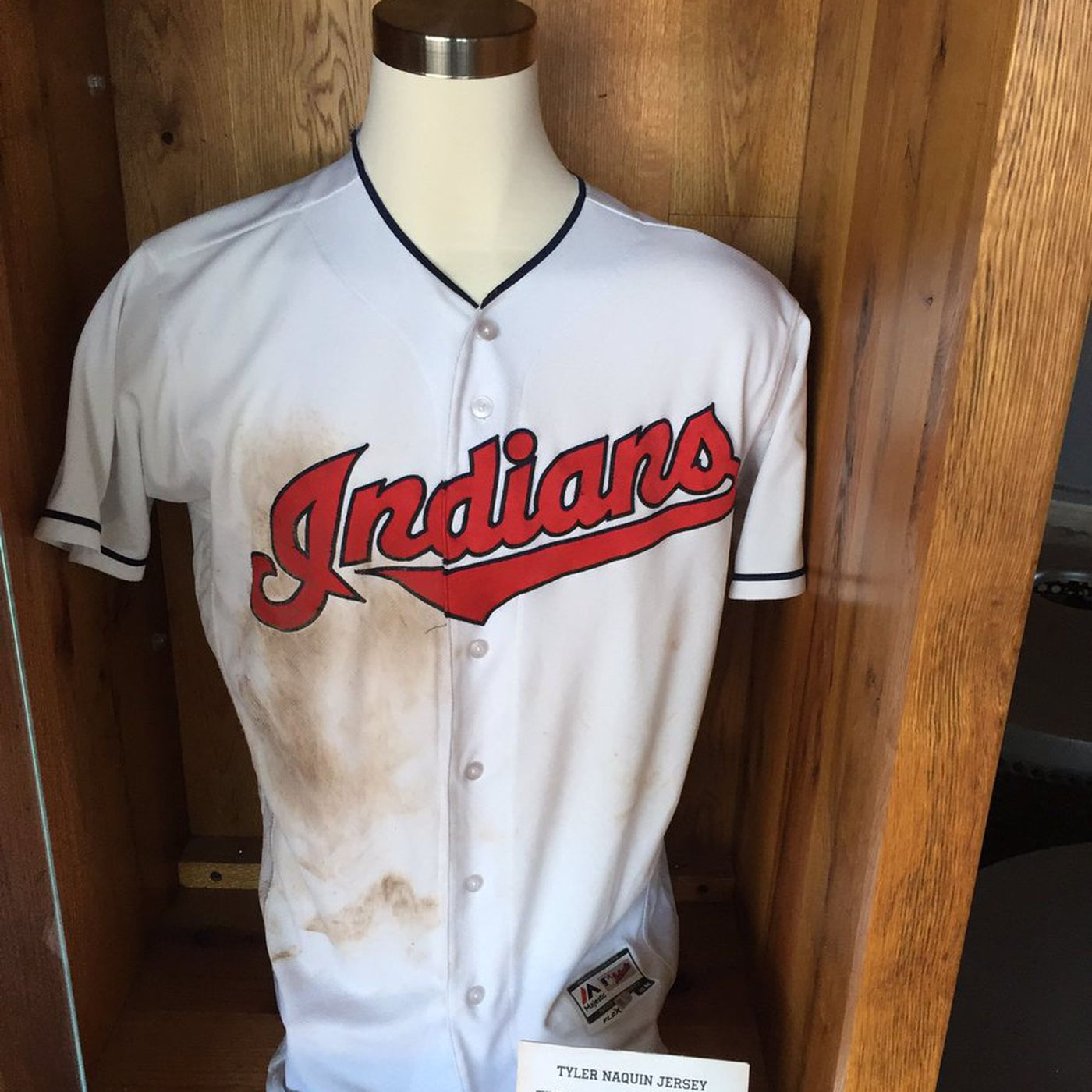 new concept ae677 9cd50 Tyler Naquin's game-winning jersey on display at Progressive ...