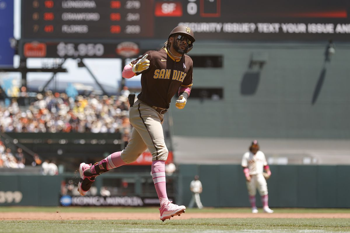 Fernando Tatis Jr. #23 of the San Diego Padres rounds the bases after he hit a two-run home run against the San Francisco Giants in the second inning at Oracle Park on May 09, 2021 in San Francisco, California.