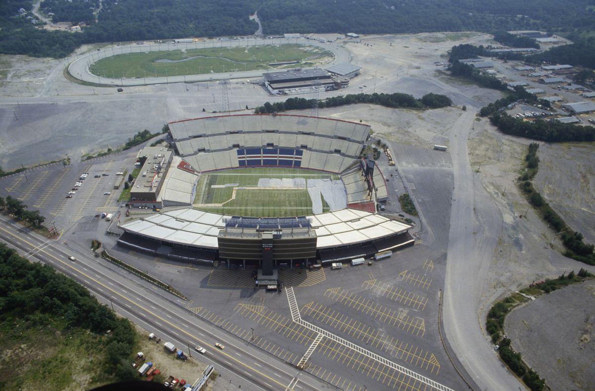 An aerial shot of an old football stadium.