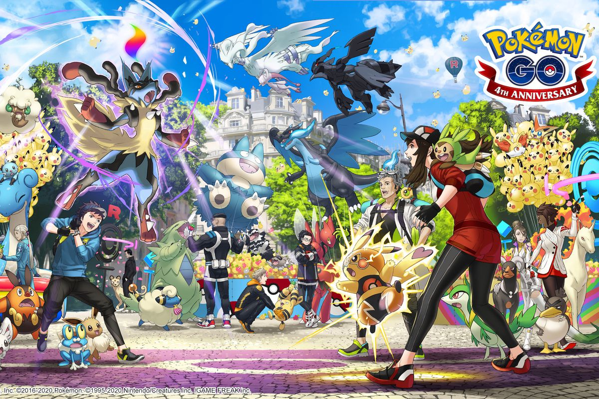 Artwork for the 4th anniversary of Pokémon Go showing a variety of trainers and Pokémon.