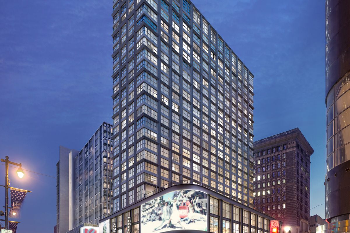 Rendering of a 20-story tower at East Market in Philadelphia.