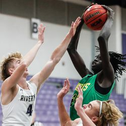 Kearns and Riverton compete in a high school boys basketball game at Riverton High School in Riverton on Friday, Dec. 18, 2020.