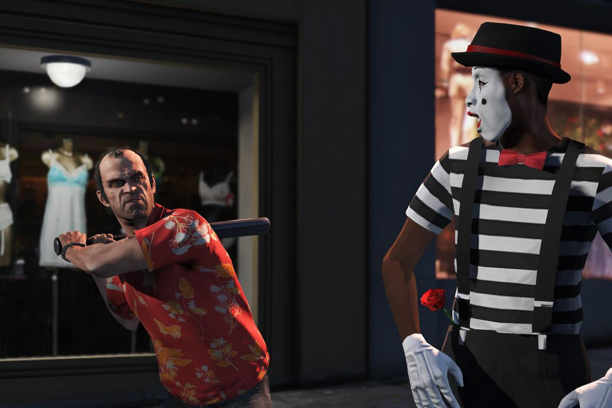 Trevor swings at a mime with a baseball bat in Grand Theft Auto 5, mime looks shocked and scared