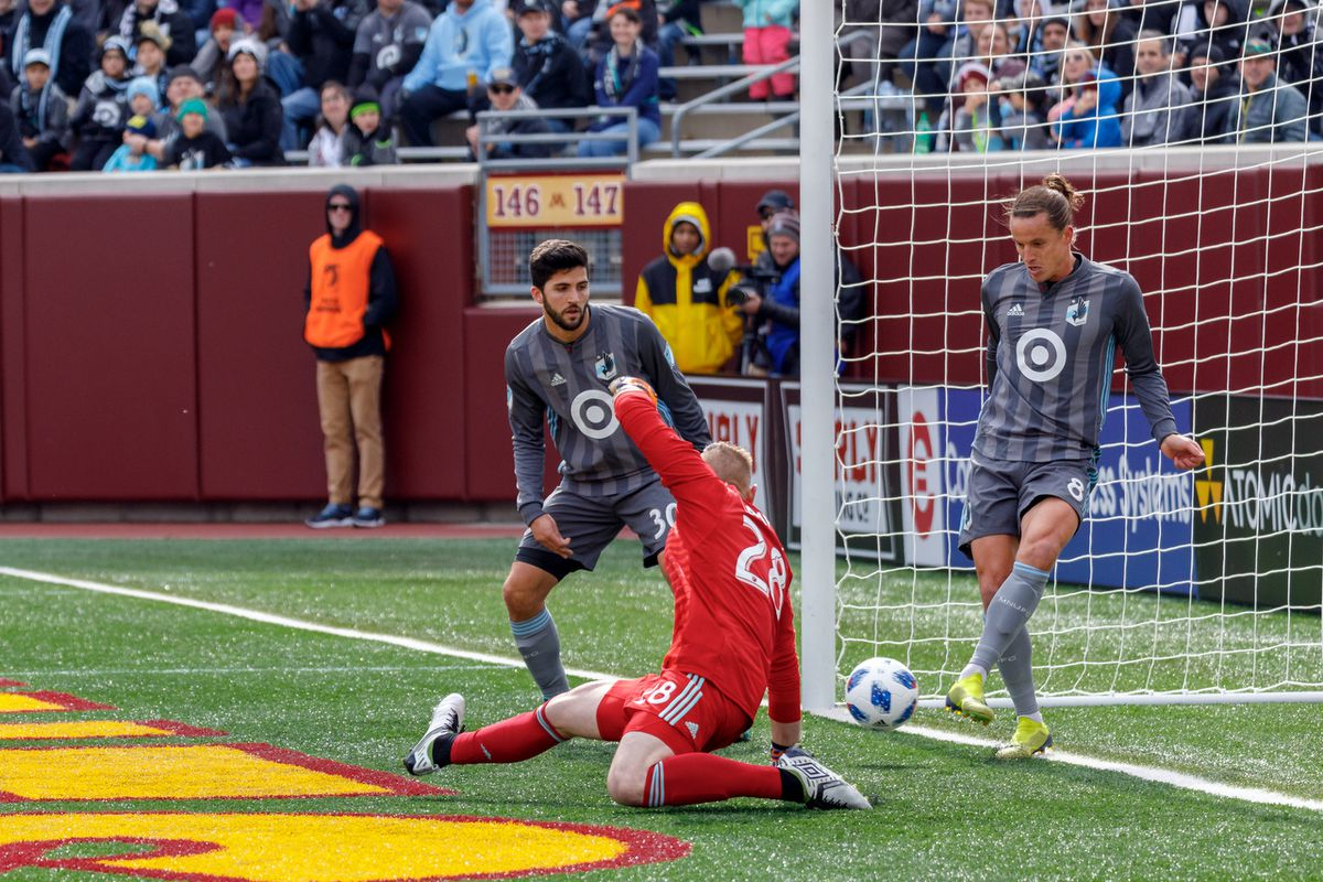 October 13, 2018 - Minneapolis, Minnesota, United States - Minnesota United defender Marc Burch (8) clears the ball of the line during the first half of the Minnesota United vs Colorado Rapids match at TCF Bank Stadium.   (Photo by Seth Steffenhagen/Steffenhagen Photography)