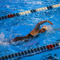 Grantsville's Hadley Begay swims her way to a win in heat 2 of the 500 yard freestyle at the 3A women's swimming state meet at the South Davis Recreation Center in Bountiful on Saturday, Feb. 13, 2021.