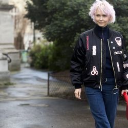 An edgy take on the bomber jacket trend, worn here with denim.