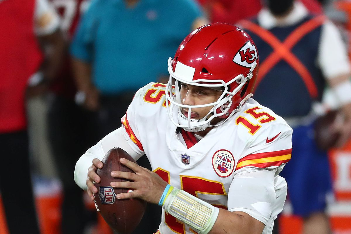 Kansas City Chiefs quarterback Patrick Mahomes moves out to pass against the Tampa Bay Buccaneers during the second half at Raymond James Stadium.