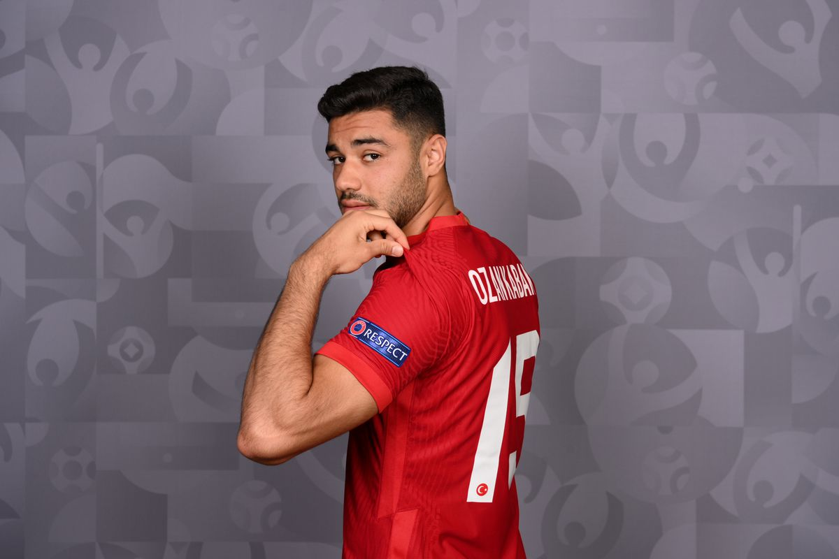Ozan Kabak of Turkey poses during the official UEFA Euro 2020 media access day on June 04, 2021