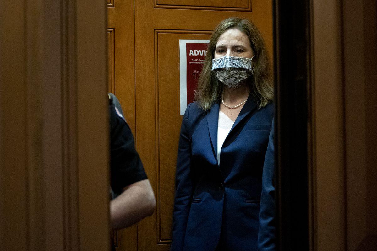 Supreme Court Justice Nominee Amy Coney Barrett Meets With Senators Ahead Of Confirmation Vote