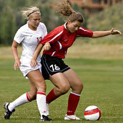 Park City's Emily Hyatt, left, tries to get the ball from  Bountiful's Katerina Skedros as Park City hosts Bountiful in preseason high school soccer in Park City on Tuesday. Bountiful won 6-0.