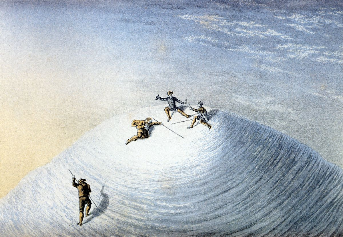 This depicts an 1851 ascent of Mont Blanc, more than half a century after Balmat and Paccard conquered it.