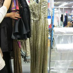 One of the most popular dresses of the season is this Badgley Mischka floor-length gold sequin number