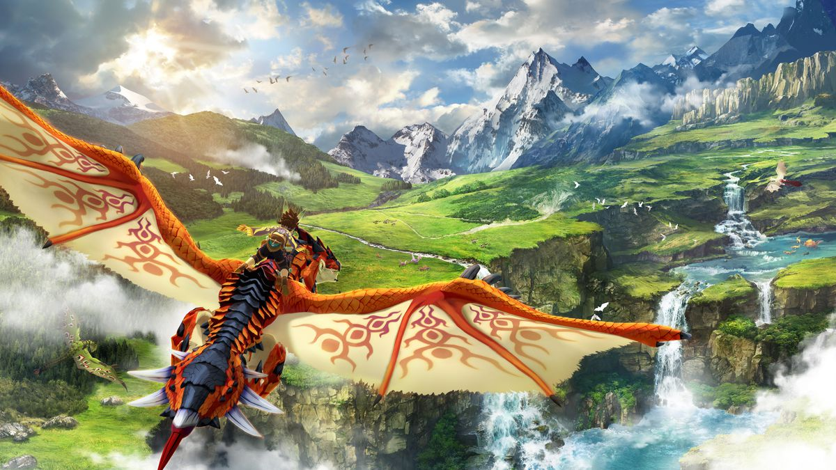 A rider flying on a Rathalos in Monster Hunter Stories 2: Wings of Ruin