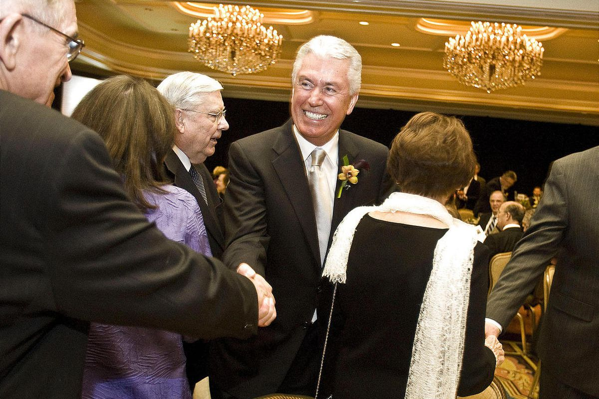 President Dieter F. Uchtdorf mingles prior to receiving the Deseret Foundation's Heart and Lung Research Foundation's Legacy of Life Award.