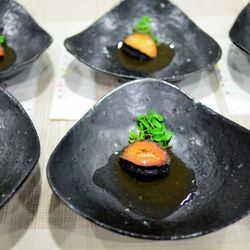 James Syhabout's abalone, with salted butter and citrus, sprouting legumes and a bouillon of its own liver.
