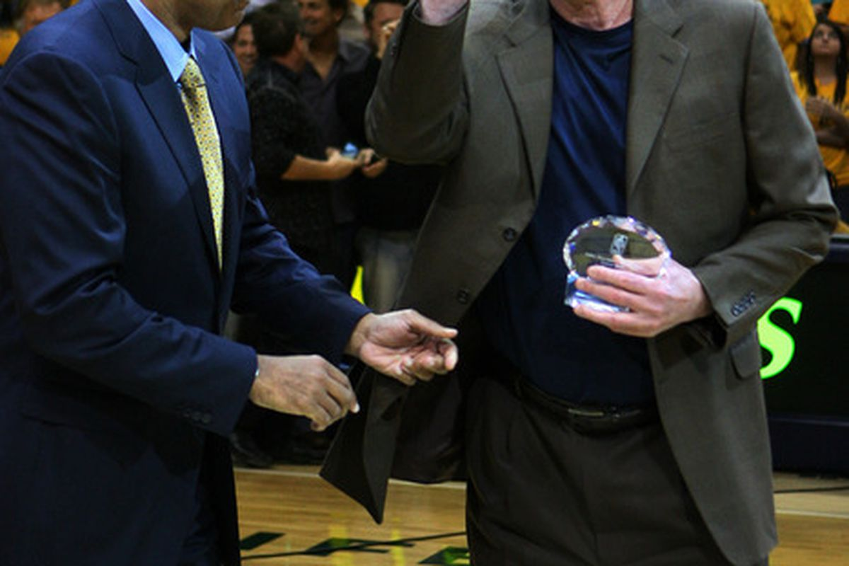 May 17, 2012; Indianapolis, IN, USA; Indiana Pacers president Larry Bird accepts the NBA Executive of the Year Award from Stu Jackson at Bankers Life Fieldhouse. Indiana defeats Miami 94-75. Mandatory Credit: Brian Spurlock-US PRESSWIRE