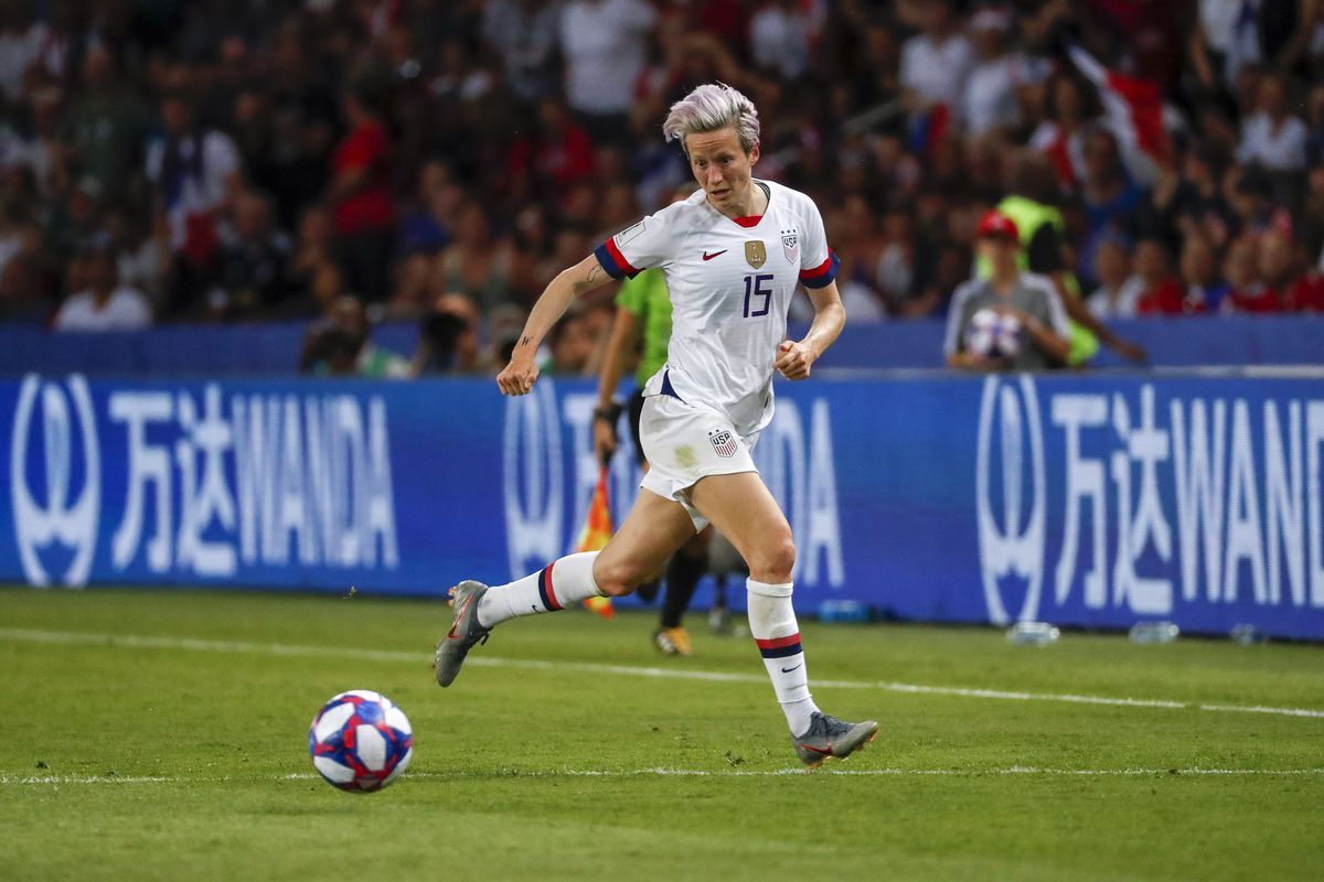 Megan Rapinoe of the US women's soccer team in the 2019 World Cup quarterfinals.