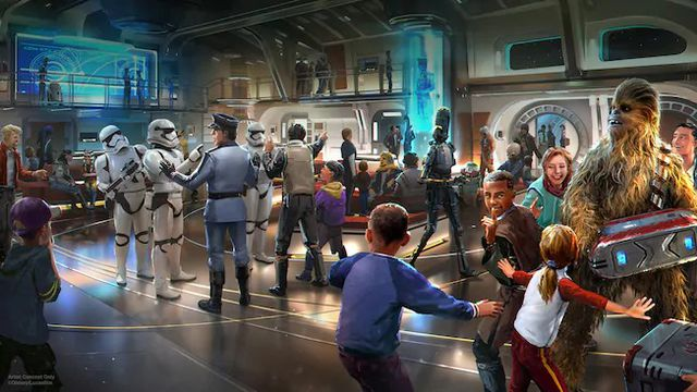An artists rendering of the Atrium shows a member of the Halcyon's crew running interference with First Order stormtroopers while Chewbacca moves some luggage around. A bipedal droid walks through the background.