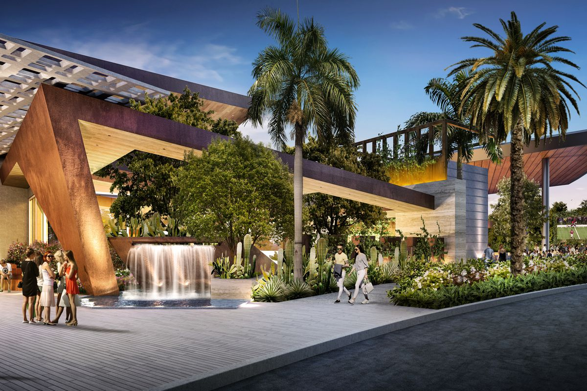 A rendering of a casino with palm trees and cactus and a water feature.