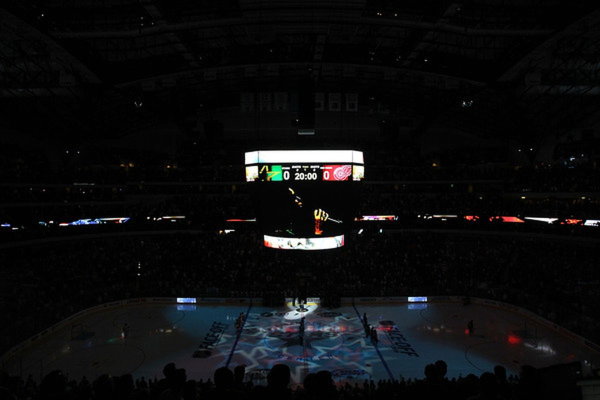 DALLAS - OCTOBER 14:  A general view during the national anthem before a game between the Detroit Red Wings and the Dallas Stars at American Airlines Center on October 14 2010 in Dallas Texas.  (Photo by Ronald Martinez/Getty Images)