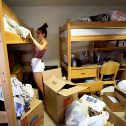 Megan Slomsky moves into her dorm room that she shares with two roommates at the University of Utah in Salt Lake City, on Thursday, Aug. 17, 2017.