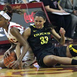 Lexi Petersen battles on the floor with Desiree Bradley.