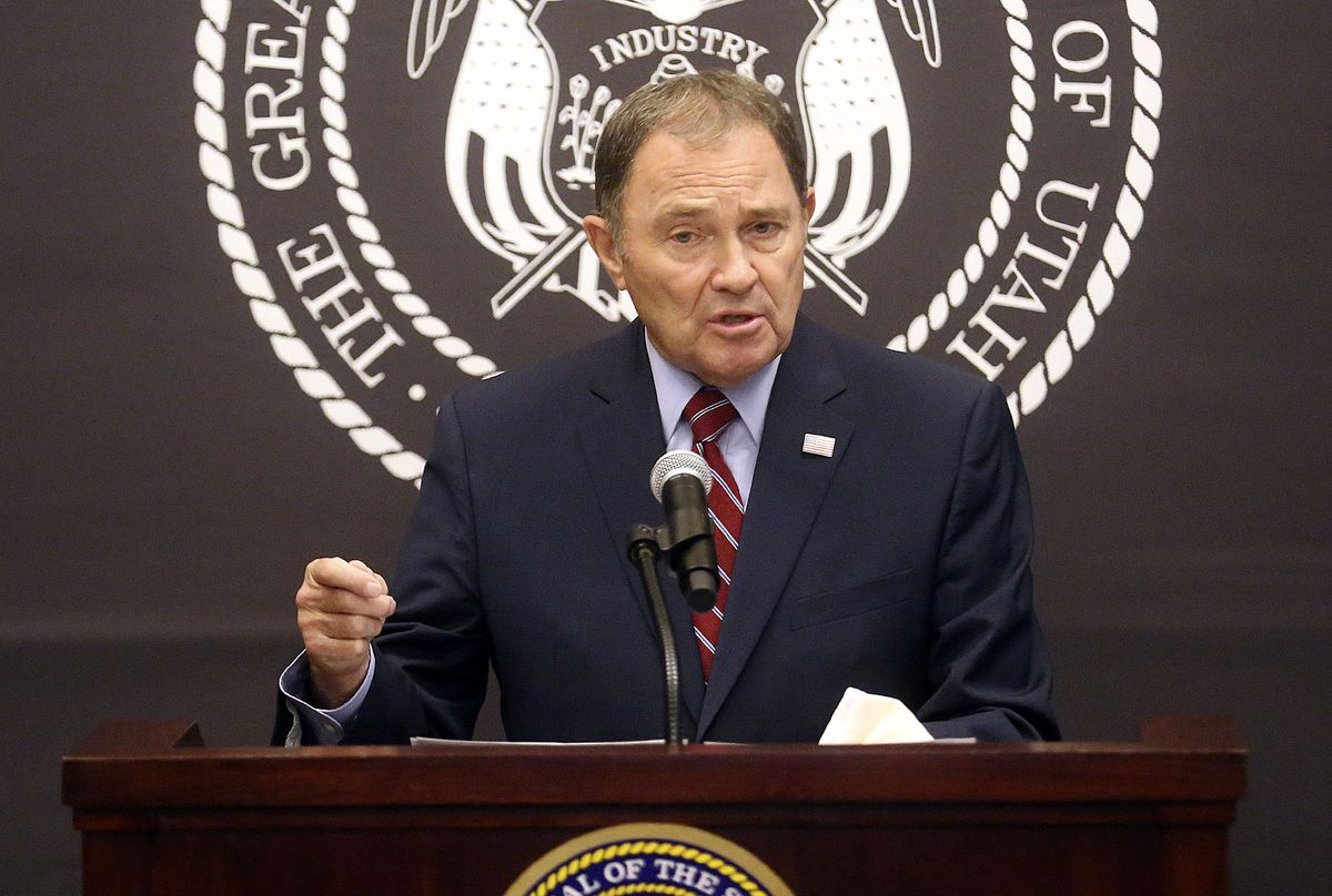 Gov. Gary Herbert speaks during a COVID-19 press conference at the Capitol in Salt Lake City on Thursday, Oct. 8, 2020.