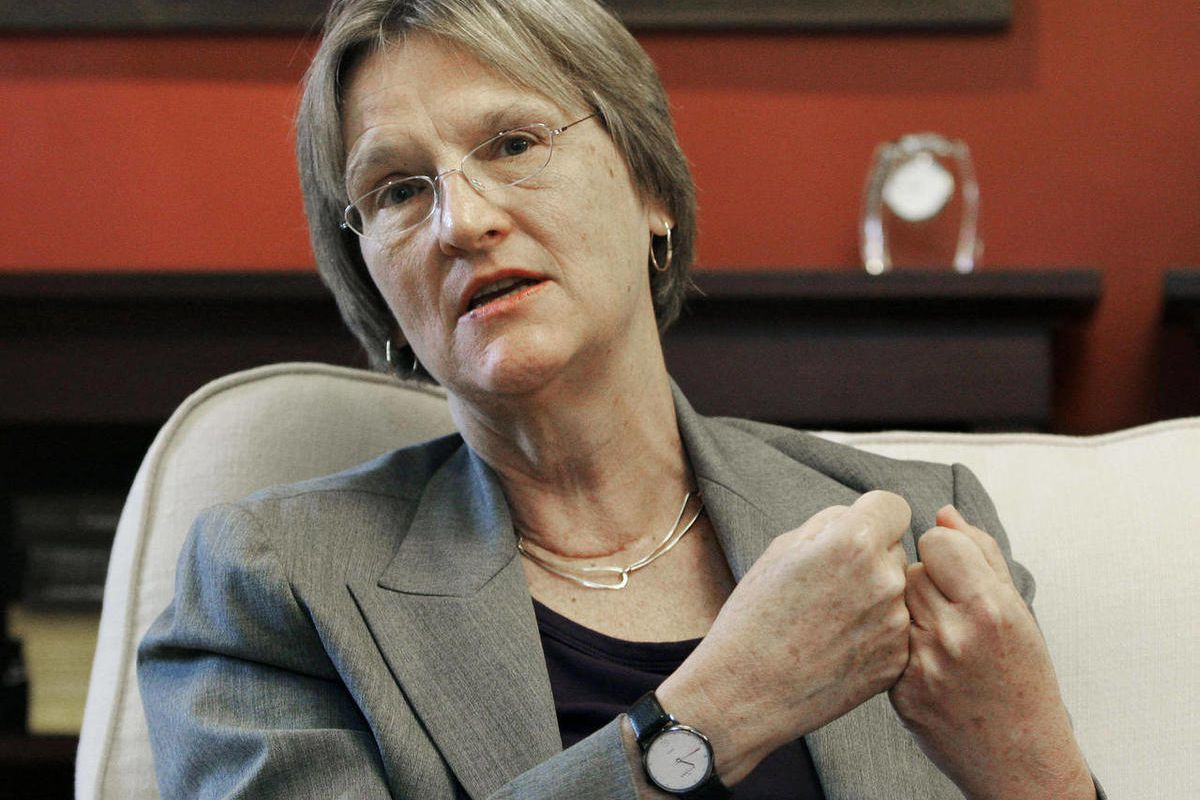 FILE - In this June 30, 2009 file photo, Harvard University President Drew Faust speaks during an interview with The Associated Press on the Harvard campus in Cambridge, Mass. Faust said Wednesday, Sept. 13, 2012, during a telephone interview with The Ass