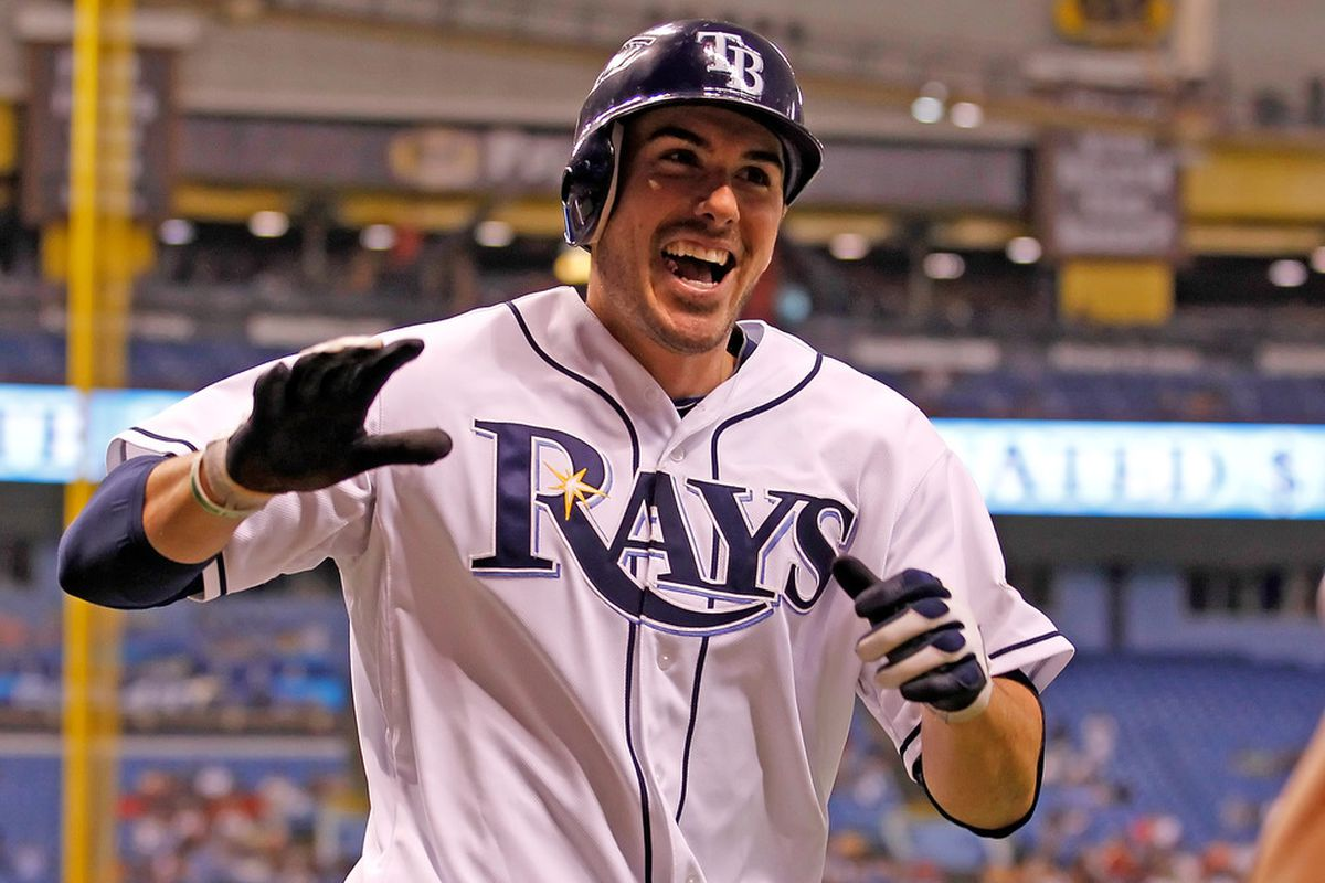 ST. PETERSBURG, FL - MAY 01:  Outfielder Matt Joyce #20 of the Tampa Bay Rays smiles after his home run against the Seattle Mariners during the game at Tropicana Field on May 1, 2012 in St. Petersburg, Florida.  (Photo by J. Meric/Getty Images)