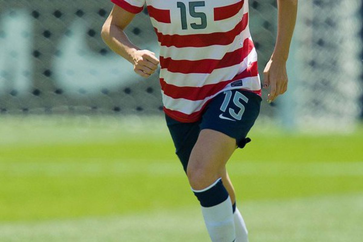June 30, 2012;  Sandy, UT, USA; USA midfielder Megan Rapinoe (15) dribbles up field during the second half against Canada at Rio Tinto Stadium. USA defeated Canada 2-1. Mandatory Credit: Russ Isabella-US PRESSWIRE