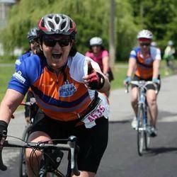 Elfi Ortenburger at the 2016 Little Red Riding Hood century bike ride.