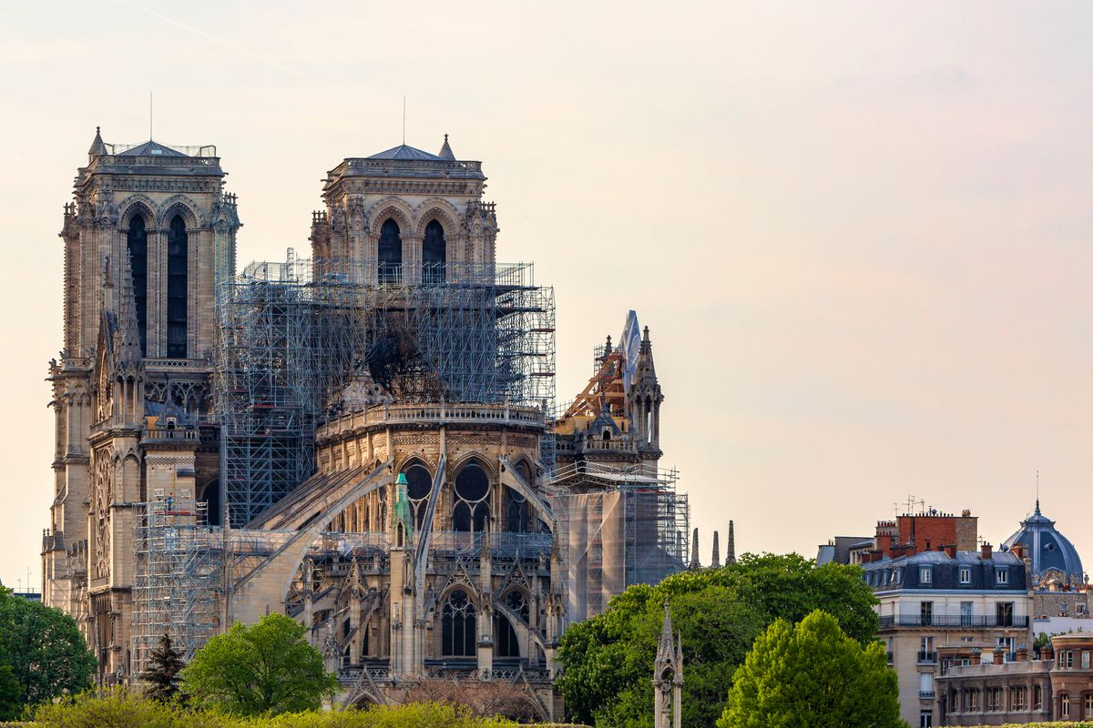 View of damaged Notre Dame cathedral.