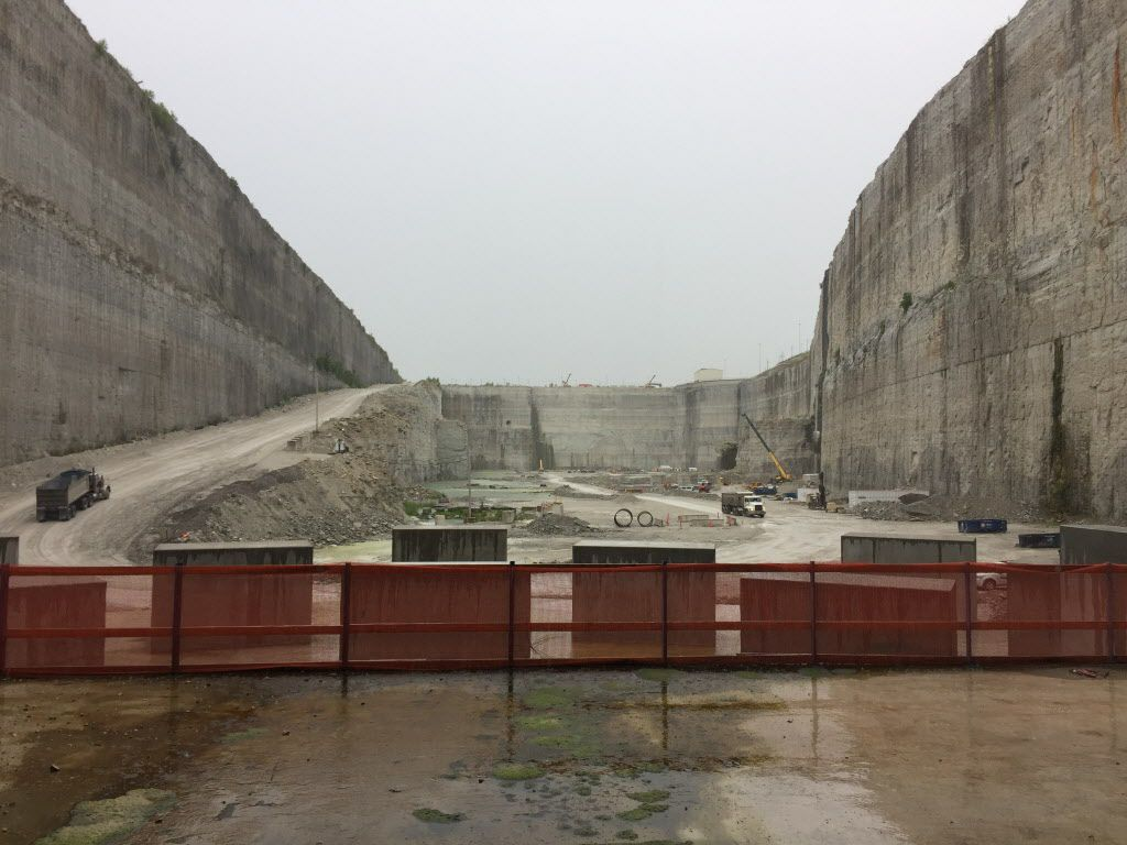 This first stage of the McCook Reservoir, an old limestone quarry used to hold stormwater, will flood this summer. When complete in 2029, the site be able to hold 10 billion gallons of water.   Neil Steinberg/Sun-Times
