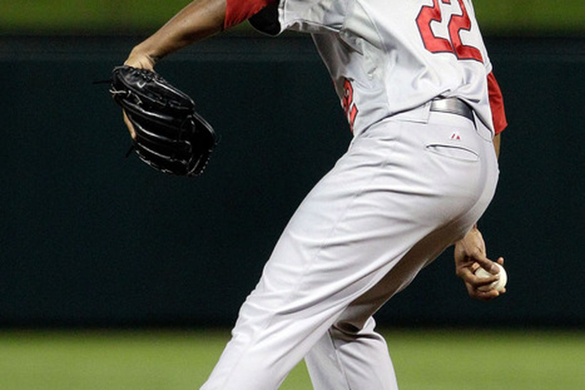 Edwin Jackson of the St. Louis Cardinals pitches in the second inning during Game Four of the MLB World Series against the Texas Rangers at Rangers Ballpark in Arlington in Arlington, Texas.  (Photo by Tony Gutierrez-Pool/Getty Images)