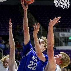 Dixie's Noah Lemke (22) goes for the basket during the 4A boys championship basketball game against Sky View at the Dee Events Center in Ogden on Saturday, Feb. 29, 2020.