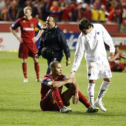 Neri Cardozo of the Rayados of Monterrey congratulates Alvaro Saborio of Real Salt Lake after the Rayados defeated RSL in the final game of the CONCACAF championship at Rio Tinto Stadium in Sandy Wednesday, April 27, 2011.